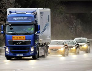 image: Europe SARTRE road haulage freight and logistics road train truck and drawbar