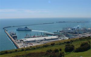 image: UK freight RoRo ferry port harbour Dover