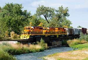 image: Genesee & Wyoming (G&W) intermodal transload multimodal freight railroad Freightliner North America