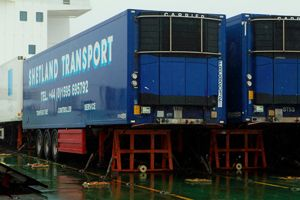 image: Shetland Orkney reefer trailer freight forwarding road haulage salmon prison