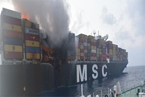 image: MSC Sri Lanka India TEU container vessel ship firs Daniela blaze fire Colombo