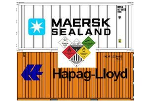 image: Maersk Hapag-Lloyd container shipping lines freight tracing dangerous goods