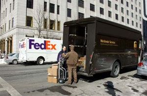 image: FedEx, UPS, transport, freight, logistics, parcel, carriers, rail, US, world, wide, Norfolk, Southern, traffic
