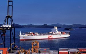 image: Hong Kong container ship freight vessel box TEU