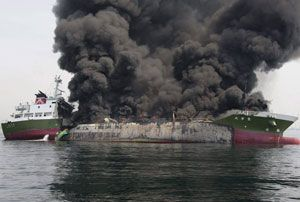 image: Thailand Japan oil tanker Vessel ship pirated exploded