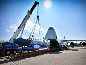 image: Gebr�der Weiss intermodal flatbed truck Antonov 124 freight forwarding US logistics heavy lift project Volga Dnepr