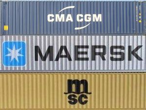 image: MSC Maersk container shipping line freight 2M Ocean Three CMA CGM