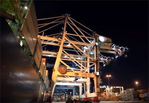 image: APM container transhipment terminal TEU freight Tanger Med Tangier Morocco
