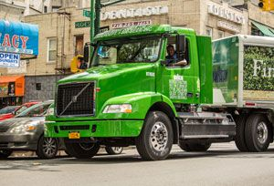 image: US freight logistics road haulage Volvo CNG truck VNM 200 Manhattan Beer Distributors New York