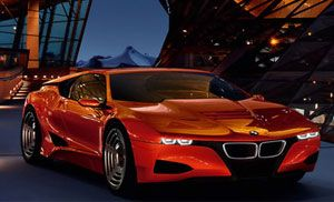 image: BMW M1 concept car rail ocean freight logistics shipping container