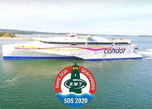 image: France Channel Isles UK maritime and transport Union RMT RoRo freight ferry Condor protest Portsmouth Port