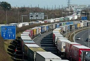 image: UK road haulage freight permits lorry parking DfT trailer registration Channel Ports M20 Operation Stack