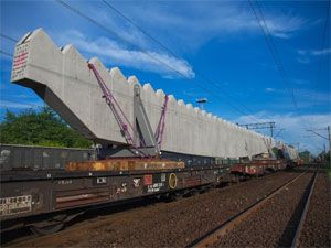 image: Poland Germany rail freight truck shipping soccer Euro 2012 cranes