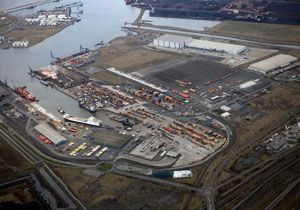 image: UK PD Ports DB Schenker rail freight intermodal RoRo LoLo containers RTG cranes stackers