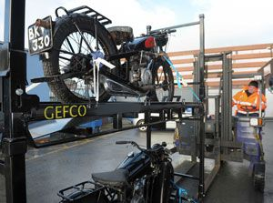 image: UK vintage motorcycles Gefco freight forwarder NEC road haulage Coventry Transport Museum