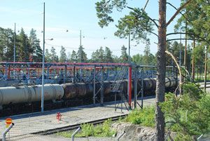 image: Finland rail carriage transport Neste oil refinery tank wagons