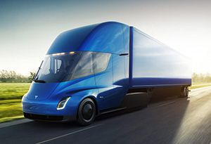 image: US Tesla road haulage freight DHL semi truck Electric Class 8 logistics group