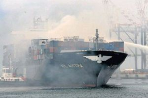 image: South Africa Austria container vessel fire Ngqura