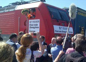 image: DB Schenker intermodal freight train Zhengzhou Hamburg port authority