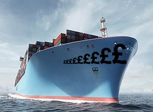 image: Maersk container shipping rates box freight reefer overcapacity TEU FFE out of gauge bulk cargo