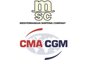 image: MSC CMA CGM box carrier freight and container shipping line TEU