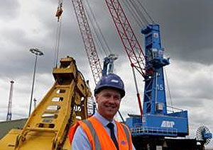 image: UK freight port cargo crane Immingham ABP