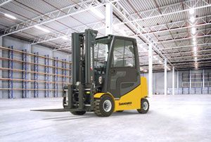 image: Germany Jungheinrich fork lift truck award IFOY freight warehouse materials handling counterbalance fuel types