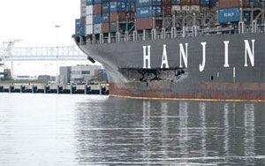 image: US container shipping ship oil spill Cosco Busan berth San Francisco Bay bridge