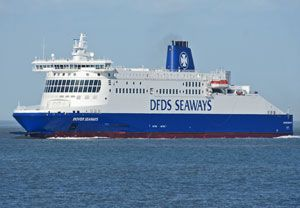 image: DFDS UK France RoRo ferries Dover freight trucks migrant cross Channel P&O