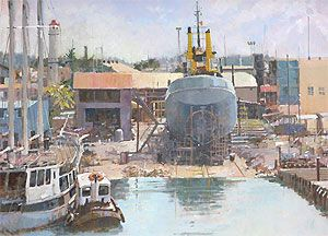 image: UK John Masefield Royal Society of Marine Artists Mall Galleries SW1 merchant navy cargo ships