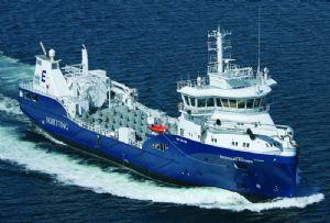 image: EU Horizon 2020 Kongsberg autonomous shipping Eidsvaag shipping company trucks emissions inland barge