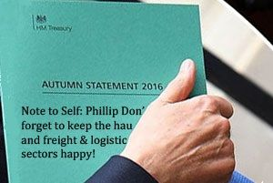 image: UK Autumn Budget Statement freight logistics road haulage