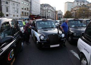 image: London black cab protest road haulage community freight outfit logistics fleet