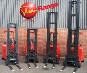 image: Flexi Narrow Aisle Articulated Forklift export sales Midlands manufacturer