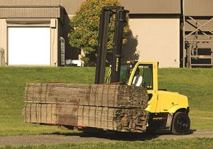 image: Europe Hyster Forklift Truck Timber, Steel and Paper Operations road haulage