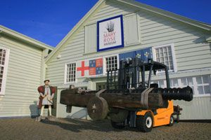 image: UK Mary Rose fork truck heavy guns shipped warship Henry VIII