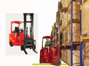 image: UK Rugby Tipton Flexi fork truck narrow aisle warehouse freight terminal shipping