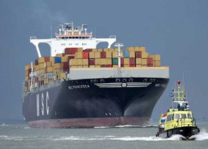 image: UK short sea container shipping road haulage bow TEU feeder cargo freight
