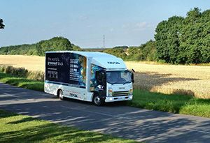 image: Innovate UK Microlise electric truck hydrogen dual-fuel vehicles van freight forwarding logistics