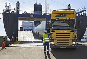 image: Sweden Stockholm shipping ports container freight trailer traffic bulk cargo TEU tonnage RoRo ferries