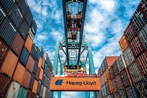 image: UK Hapag container line shipping logistics freight box reuse TEU