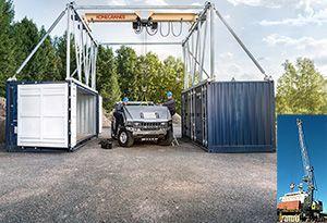 image: Australia Germany Finland Dubai shipping containers mobile harbour port cranes Liebherr Konecranes