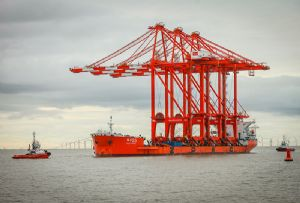 image: UK Liverpool2 cranes ship to shore freight container handling Peel Ports