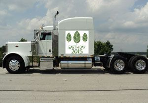 image: Earth Day truck freight emissions NHTSA road haulage fuel hybrid