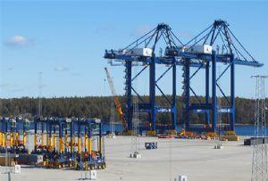 image: Sweden post panama cranes Baltic China ZPMC Stockholm Norvik Port container box vessels