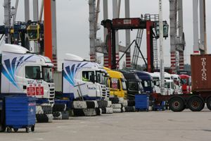 image: DP World UK VBS container shipping road haulage freight terminal