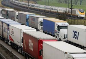 image: France Ireland UK road haulage truck freight Calais migrant attacks drivers operation stack