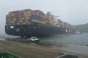 image: Durban blocked freight Port ships aground