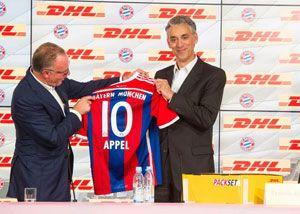 image: DHL express freight logistics Bayern Munich Karl-Heinz Rummenigge parcels home deliveries