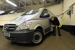 image: UK electric van freight and logistics cargo operator green emissions Mercedes Vito E-Cell